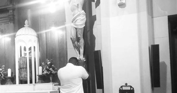 John Dumelo Labelled Idol Worshipper For Touching Jesus' Feet – See Response!